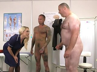 Team a few guys get their dicks pleasured by horny MILF Victoria Summers