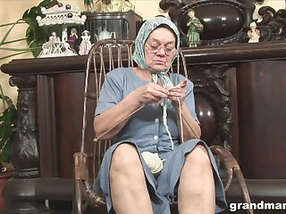 Perverted fat wrinkled granny flashes her mature pussy at near unexcelled