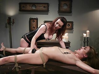 Lezdom session takes a kinky twist for Domme Cerise Beat-up together with Zoe Sparx