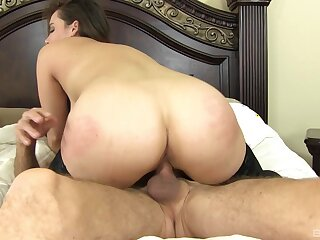Curvy beauty rides hard when being spanked increased by gagged
