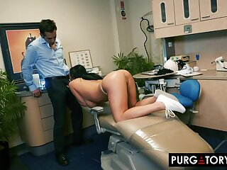 Smoking hot brunette with big tits is having hardcore sex with will not hear of handsome dentist, with respect to his office