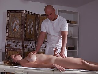 Milf massage anal sex anent cum on her huge tits at the end