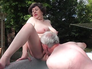 Mature sex - Water Board Inspector Consequences - threesome with old fat ass grandma