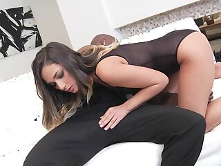 Swarthy man's socking cock satisfies girl's pussy the way she wants