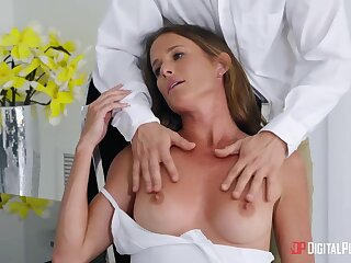 Absorbing woman Sofie Marie gives a wonderful blowjob before passionate sex