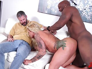 Cum caring wife Ryan Conner rides a black cock for her husband